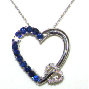 9ct White Gold Sapphire & Diamond Double Heart Pendant & Chain Necklace STS/VP09415/11/27-9W