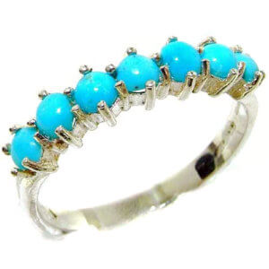 High Quality Solid Hallmarked Sterling Silver Natural Turquoise Eternity Ring