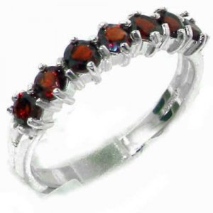 High Quality Solid Hallmarked Sterling Silver Natural Garnet Eternity Ring