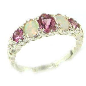 9ct White Gold Pink Tourmaline & Opal Ring