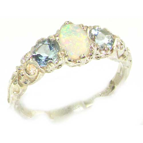 9ct White Gold Opal & Aquamarine Ring