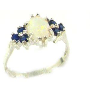 9ct Gold Fiery Opal & Sapphire Ring