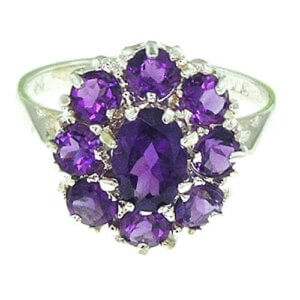 Sterling Silver Amethyst Cluster RingFree P&P
