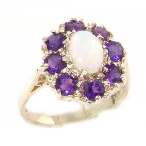 9ct White Gold Opal & Amethyst Cluster Ring