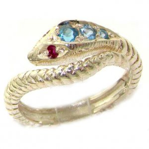9ct White Gold Blue Topaz & Ruby Snake Ring