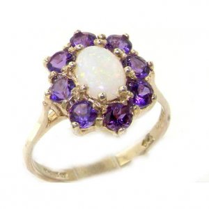 9ct White Gold Opal & Amethyst Ring