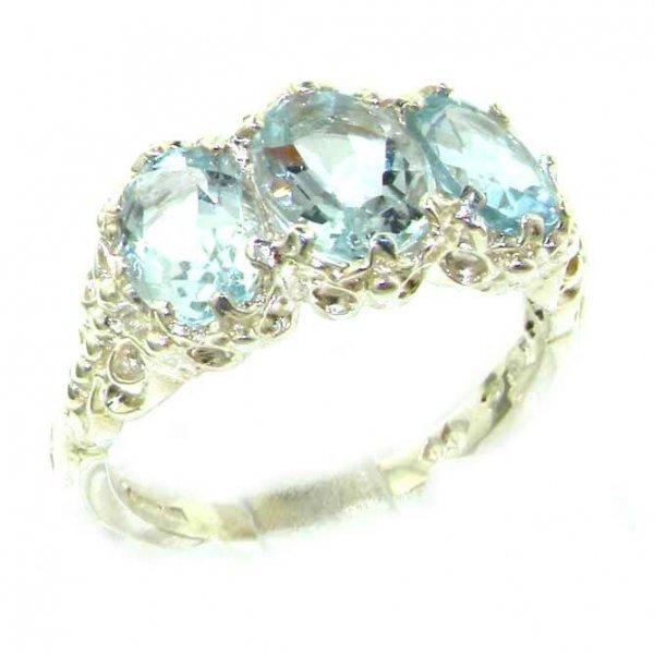 9ct White Gold Aquamarine 3 Stone Ring