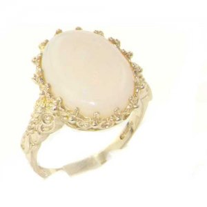 Large 9ct White Gold Colourful Opal Ring