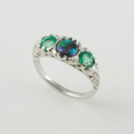 white gold black opal & emerald ring