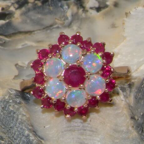 9ct Rose Gold Ruby & Opal Ring