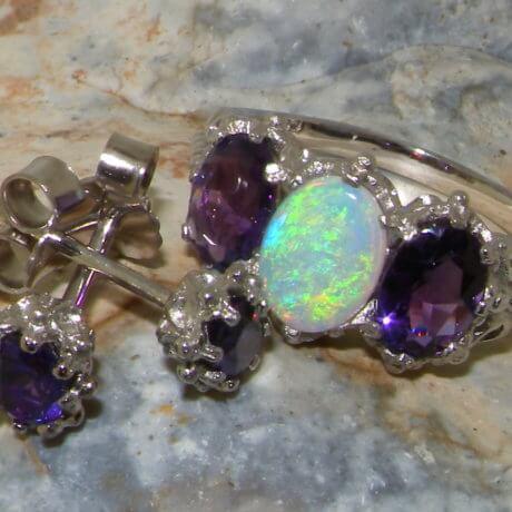 opal & amethyst ring and earrings set