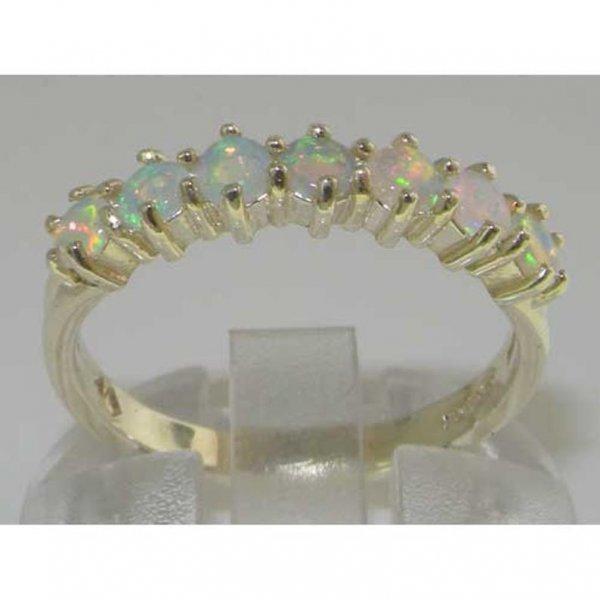 half eternity white gold opal ring