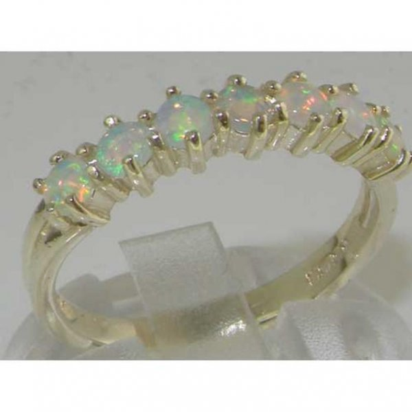 half eternity white gold opal ring side view