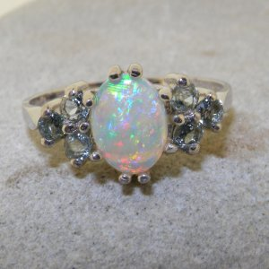 silver opal and aquamarine ring