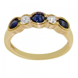 sapphire and diamond five stone gold ring