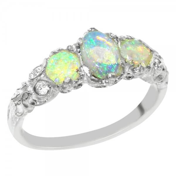 silver opal trilogy ring