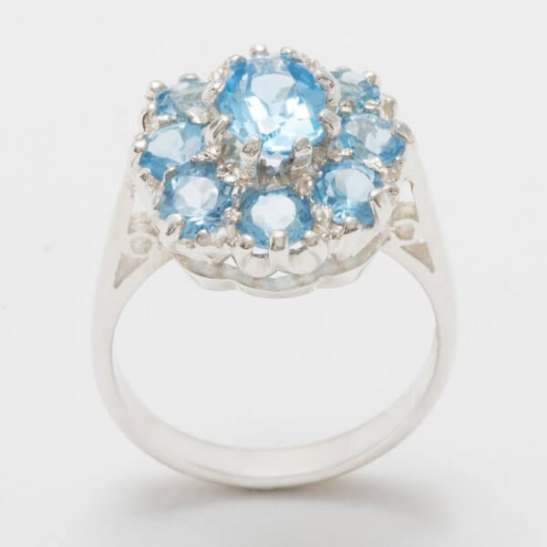 silver blue topaz cluster ring side view 1