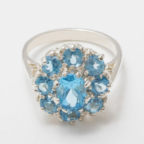 silver blue topaz cluster ring side view 3
