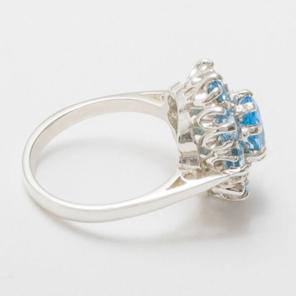 silver blue topaz cluster ring side view 4
