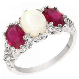 Silver Opal & Ruby 3 Stone Ring