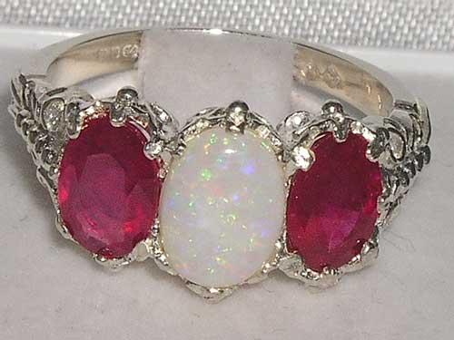 Silver Opal & Ruby 3 Stone Ring