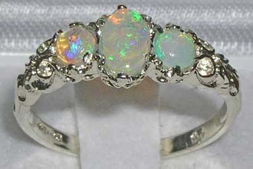 sterling silver opal trilogy ring