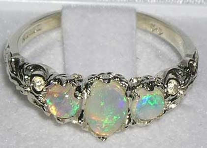 opal 3 stone ring