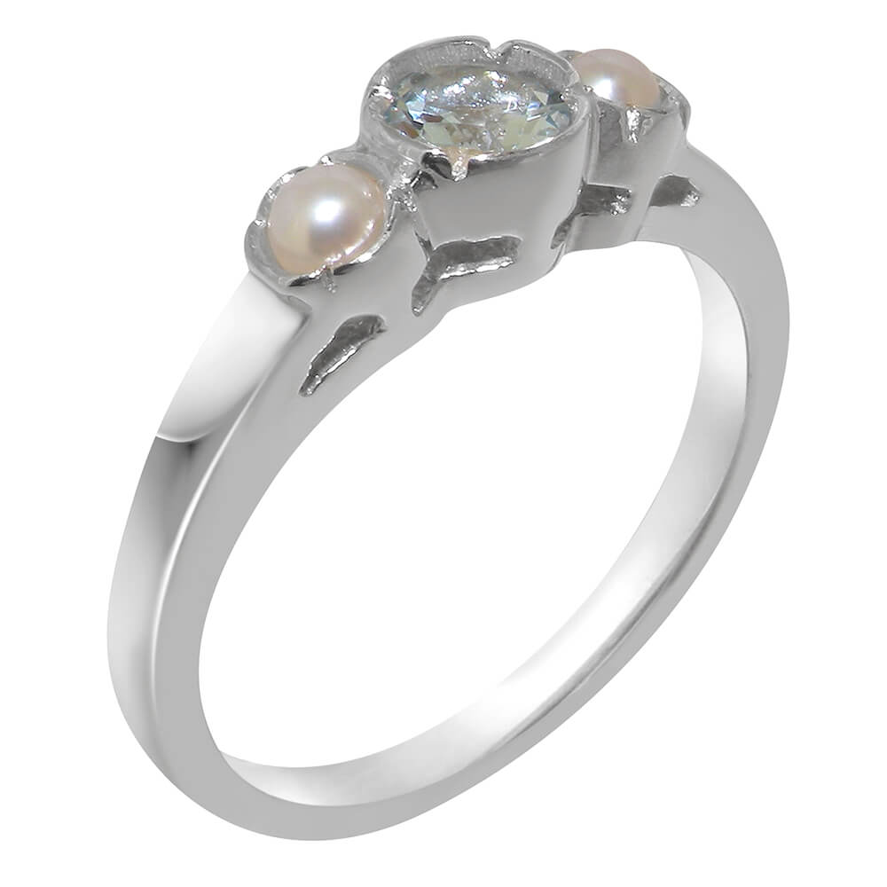 925 Sterling Silver Cultured Pearl and Amethyst Womens Band Ring