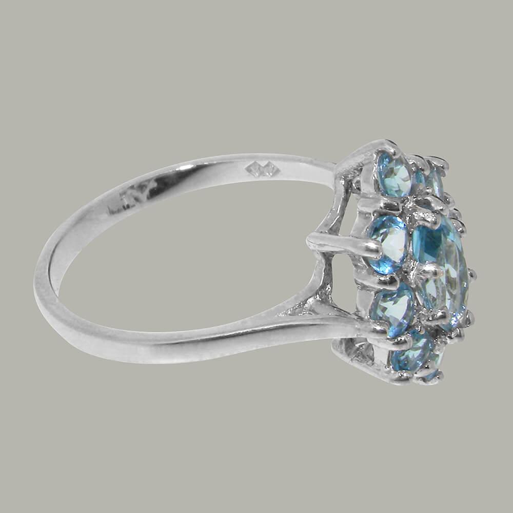 Silver Cluster Ring 925 Sterling Silver Emerald White Topaz Women Finger Ring